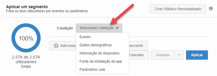 Aplicar segmento FB Analytics