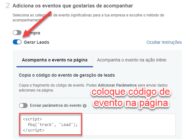 Código do evento