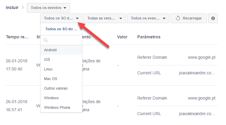 Separador Depurador de Eventos no FB Analytics
