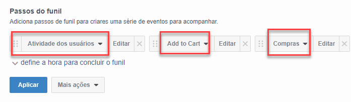 Passos do funil no FB Analytics
