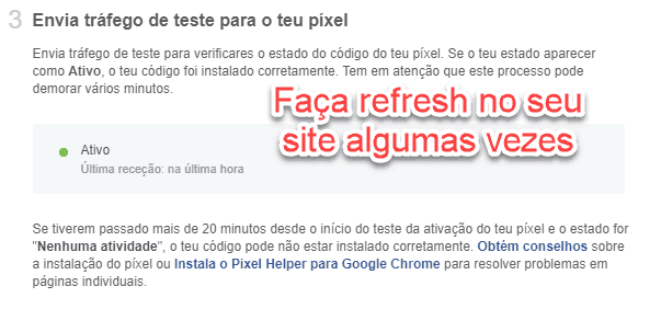 refresh no seu site